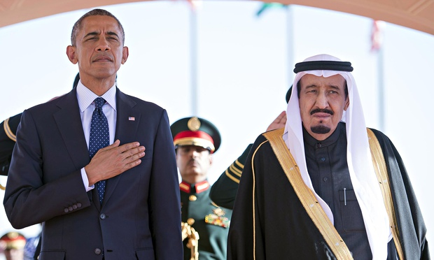 President Barack Obama with Saudi Arabian King Salman.